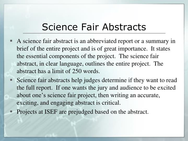 Science Fair Abstracts
