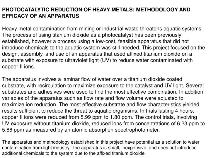 PHOTOCATALYTIC REDUCTION OF HEAVY METALS: METHODOLOGY AND EFFICACY OF AN APPARATUS