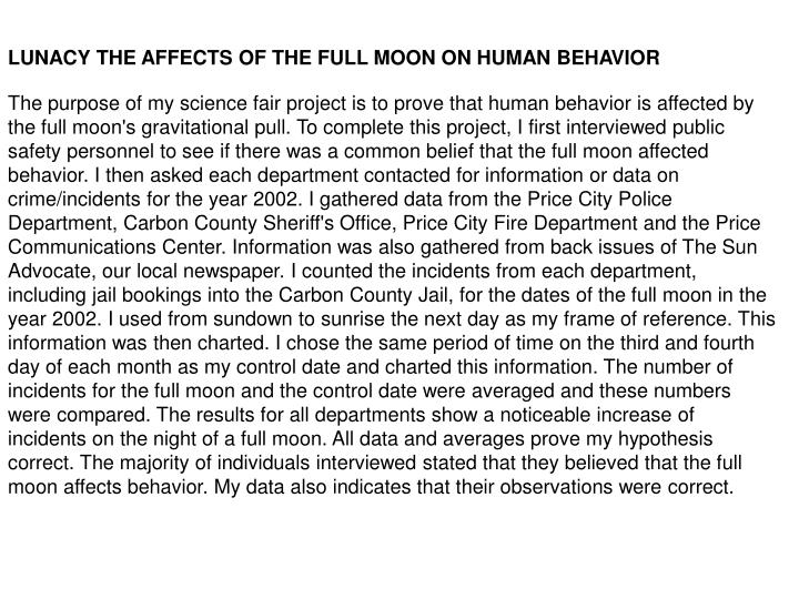 LUNACY THE AFFECTS OF THE FULL MOON ON HUMAN BEHAVIOR