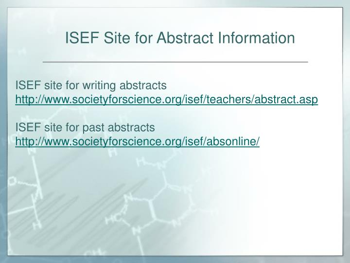 ISEF Site for Abstract Information