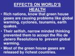 effects on world s health