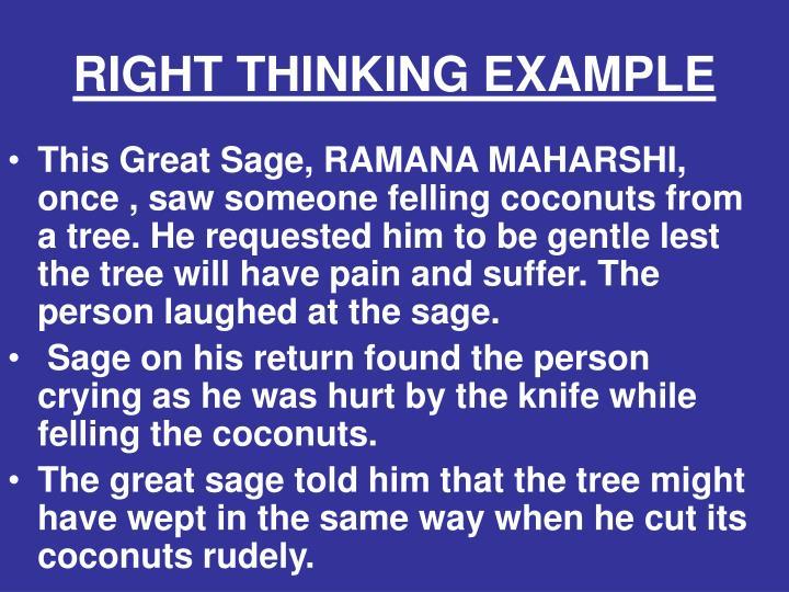 RIGHT THINKING EXAMPLE