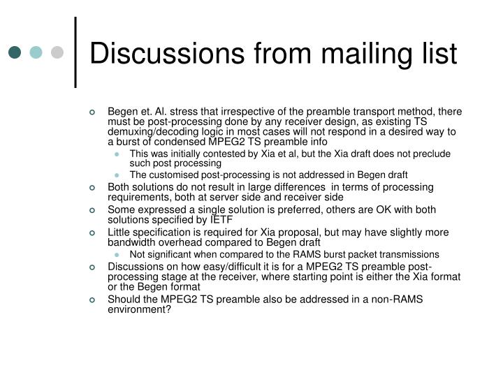 Discussions from mailing list