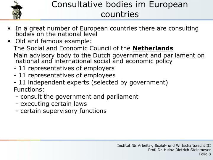 Consultative bodies im European countries