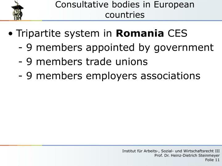 Consultative bodies in European countries