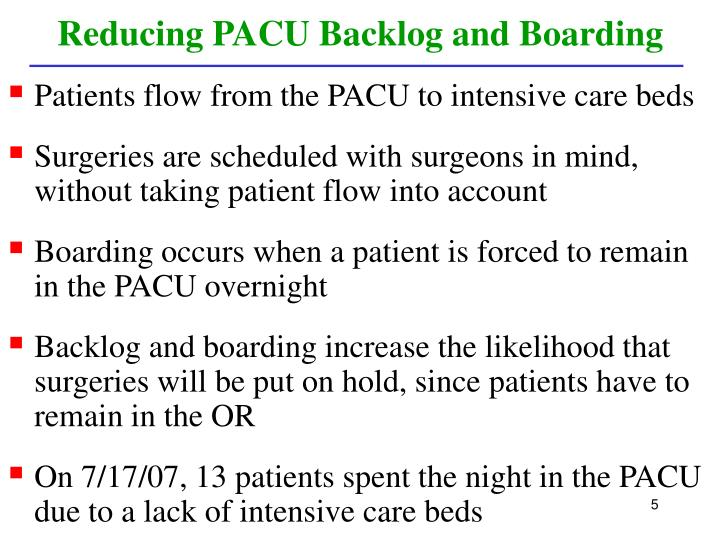 Reducing PACU Backlog and Boarding
