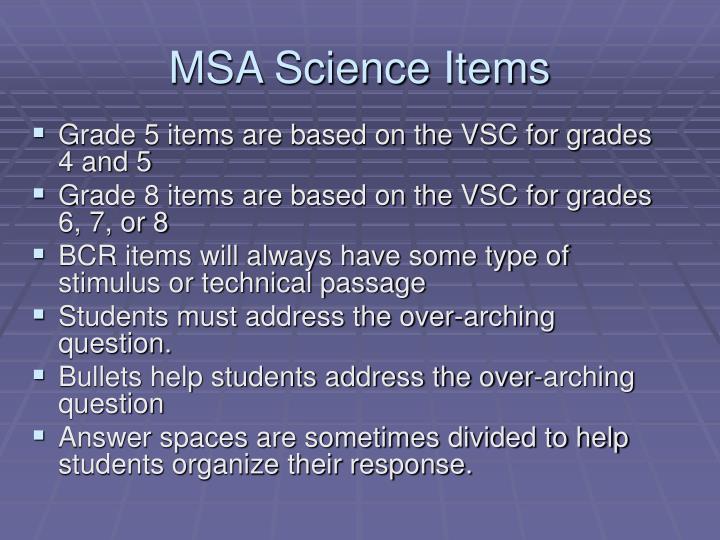 MSA Science Items