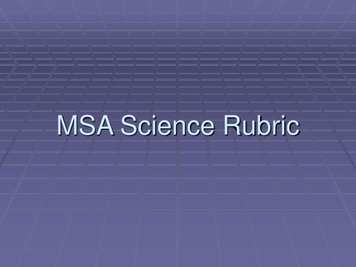 MSA Science Rubric