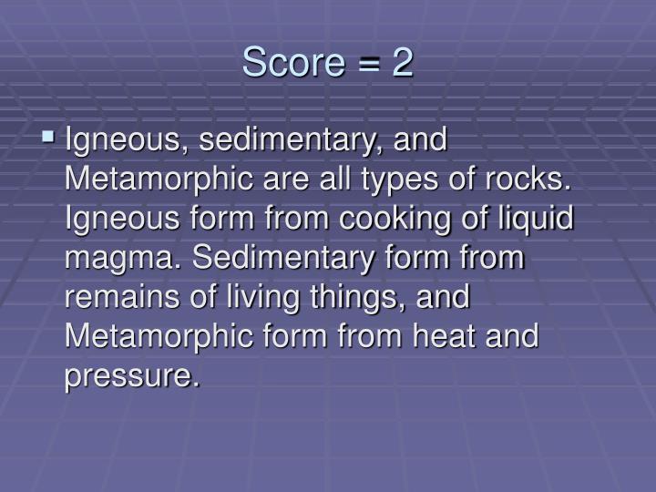 Score = 2