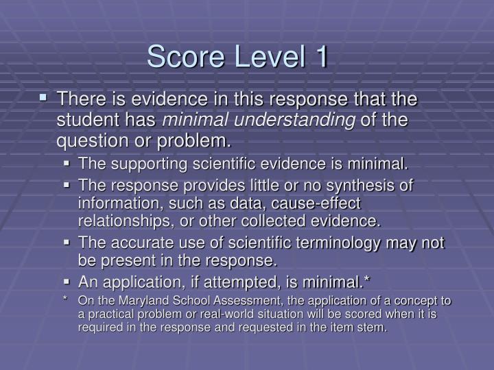 Score Level 1