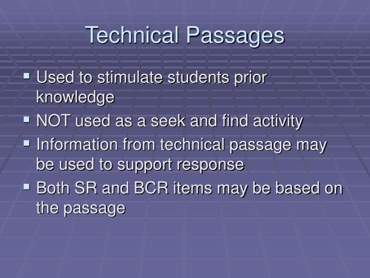 Technical Passages