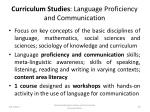curriculum studies language proficiency and communication