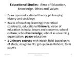 educational studies aims of education knowledge ethics and values