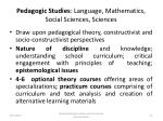 pedagogic studies language mathematics social sciences sciences