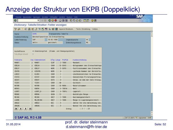 Anzeige der Struktur von EKPB (Doppelklick)
