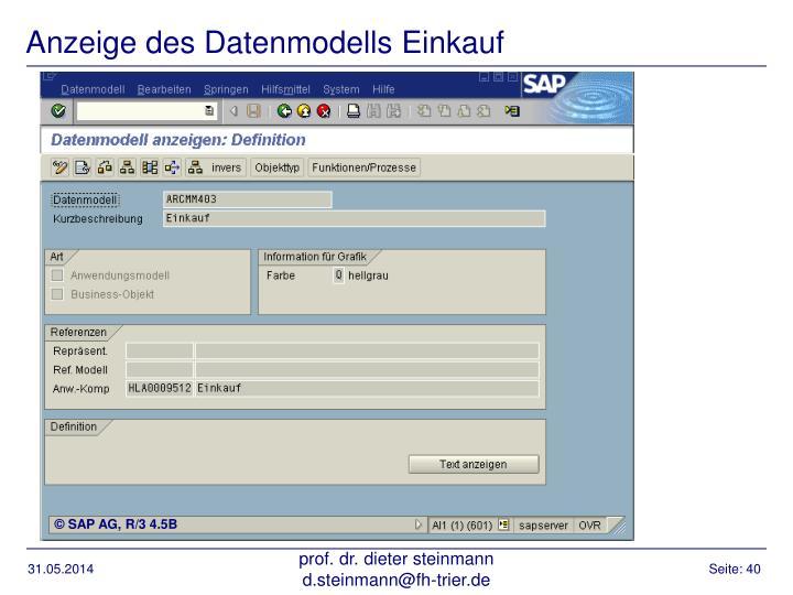 Anzeige des Datenmodells Einkauf