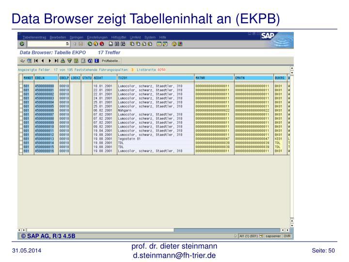 Data Browser zeigt Tabelleninhalt an (EKPB)
