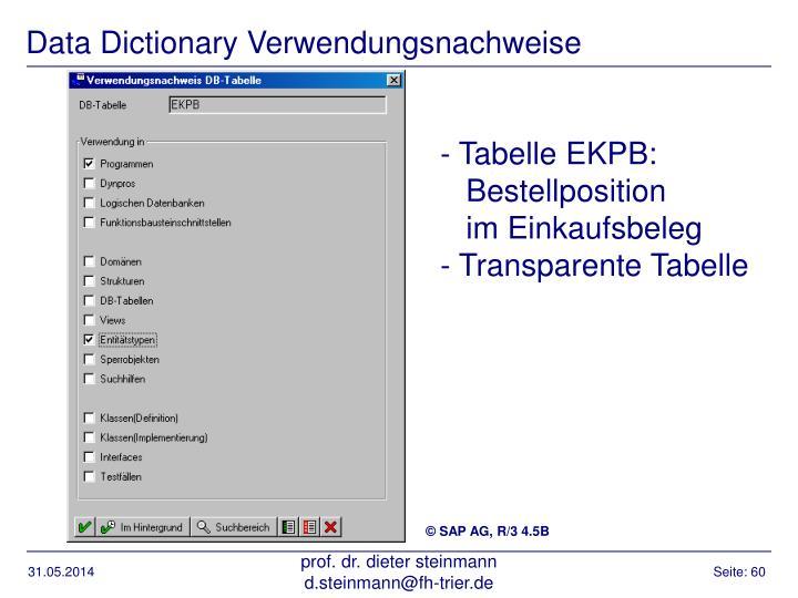 Data Dictionary Verwendungsnachweise