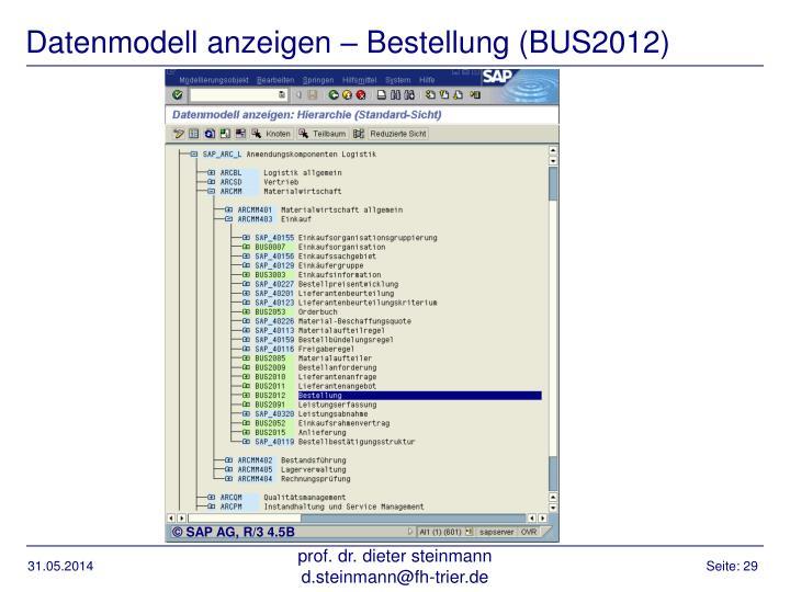 Datenmodell anzeigen – Bestellung (BUS2012)