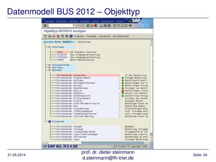 Datenmodell BUS 2012 – Objekttyp