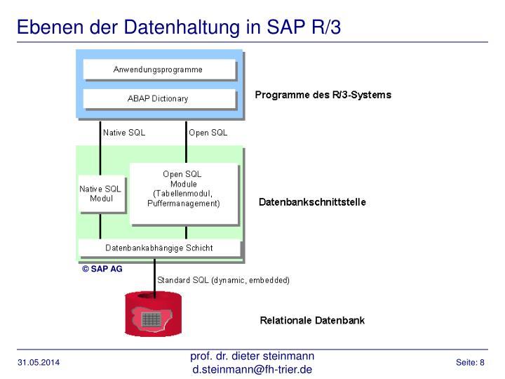 Ebenen der Datenhaltung in SAP R/3