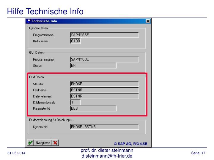 Hilfe Technische Info