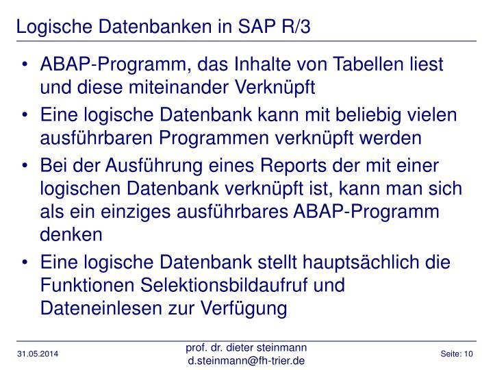 Logische Datenbanken in SAP R/3