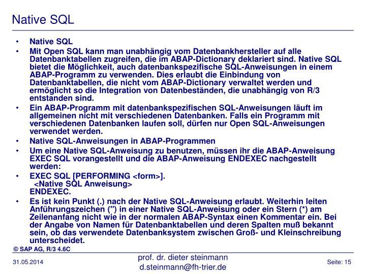 Native SQL