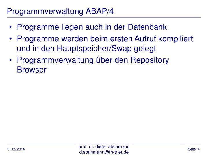 Programmverwaltung ABAP/4