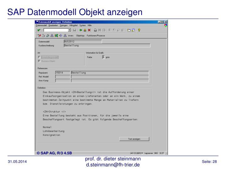 SAP Datenmodell Objekt anzeigen