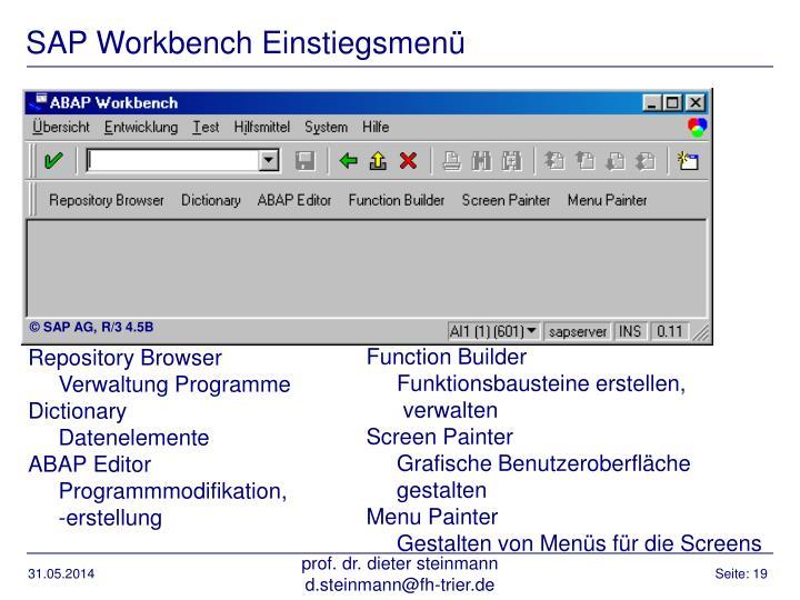 SAP Workbench Einstiegsmenü