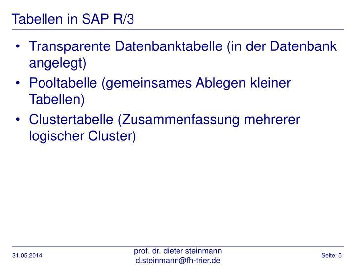 Tabellen in SAP R/3