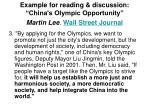 example for reading discussion china s olympic opportunity martin lee wall street journal