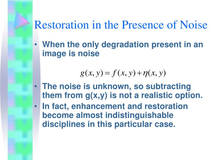 Restoration in the Presence of Noise