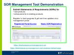 sor management tool demonstration