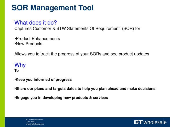 SOR Management Tool