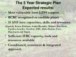 the 5 year strategic plan expected results