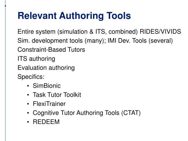 Relevant Authoring Tools