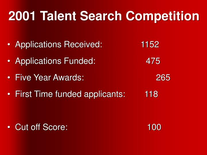 2001 Talent Search Competition