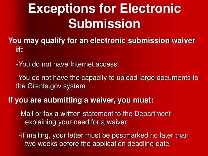Exceptions for Electronic Submission