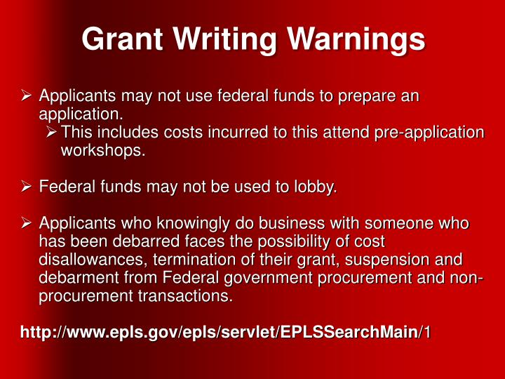 Grant Writing Warnings