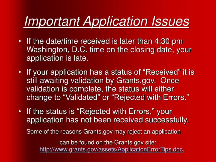 Important Application Issues