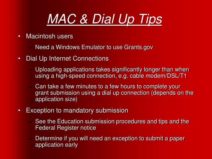 MAC & Dial Up Tips