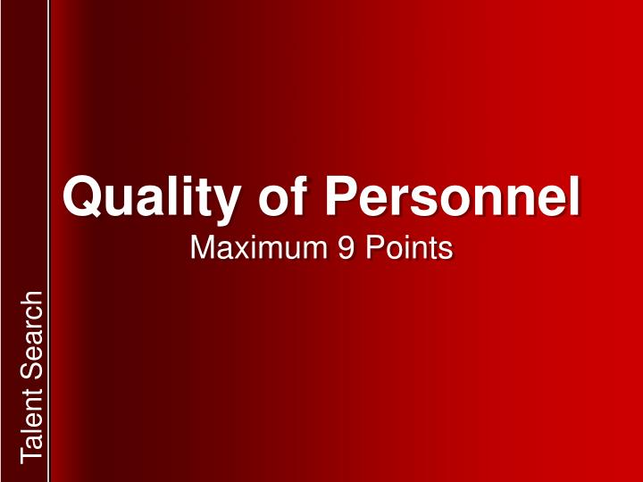 Quality of Personnel