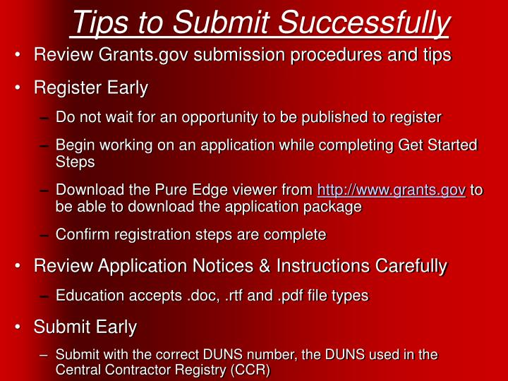 Tips to Submit Successfully