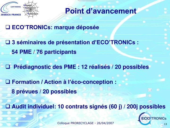 Point d'avancement