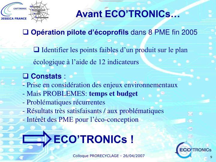 Avant ECO'TRONICs…