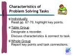characteristics of problem solving tasks1