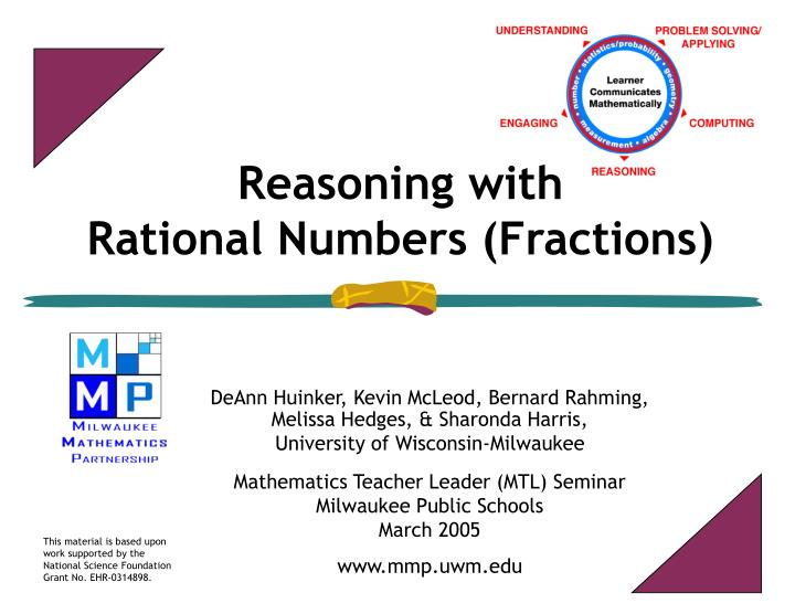 reasoning with rational numbers fractions