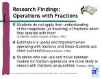 research findings operations with fractions